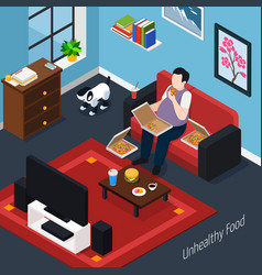Man with overweight isometric composition vector