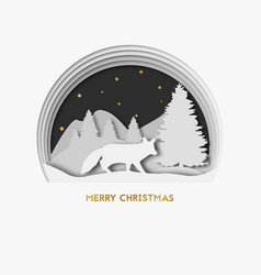 Merry christmas 3d layered paper art greeting vector