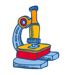 microscope icon hand drawn style vector image