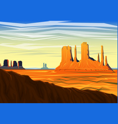 Mountain and monument valley morning panoramic vector