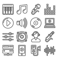 music icons set on white background line style vector image
