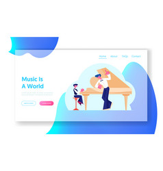 Musical education website landing page little boy vector