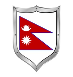 Nepal flag button vector image