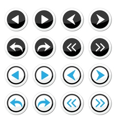 Next previous arrows round icons set vector image