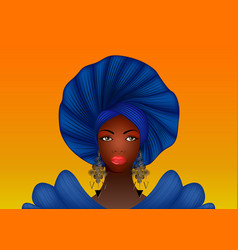 nigerian headtie portrait african american woman vector image