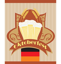 Oktoberfest card with Beer vector image