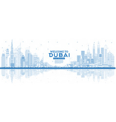 outline welcome to dubai uae skyline with blue vector image