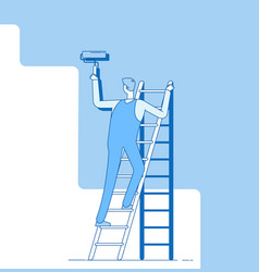 Painter painting wall worker on ladder craftsman vector