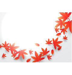 Paper art concept red and orange autumn leaves vector