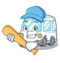 Playing baseball ambulance character cartoon style vector