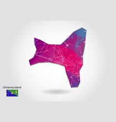 Polygonal christmas island map low poly design vector