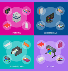 printing signs 3d banner set isometric view vector image