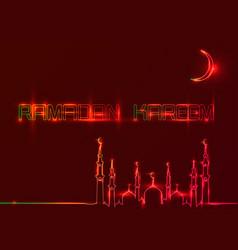 Ramadan kareem greeting cards red neon sign style vector