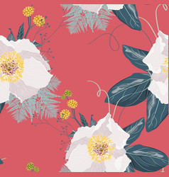 seamless floral pattern with a cute white peony vector image