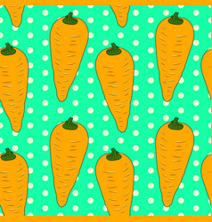 seamless vintage pattern with orange carrots vector image