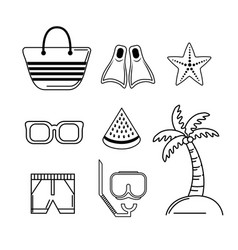Set activities to do in the beach and summer days vector