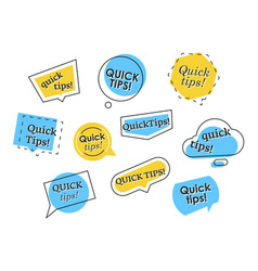 set colorful quick tips logos vector image