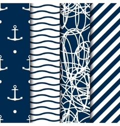 Set four seamless sea style patterns vector