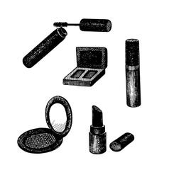 set of hand drawn decorative cosmetics vector image