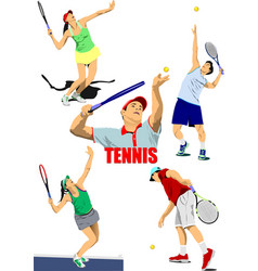Set tennis players colored vector