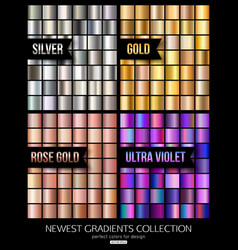 set ultra violet gold and silver gradient vector image