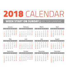 simple 2018 year calendar vector image vector image