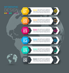 six labels with business icon infographics vector image