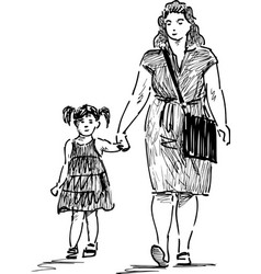 sketch a mother with her daughter going down vector image