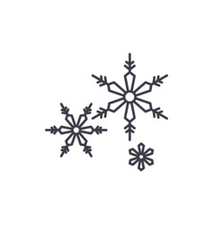 snowflakes line icon concept snowflakes vector image