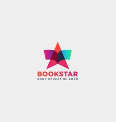Star book education gradient negative simple logo vector