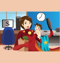 Superhero mom concept vector