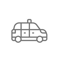 Taxicab taxi cab line icon isolated on white vector