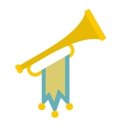 Trumpet with flag icon flat style vector image