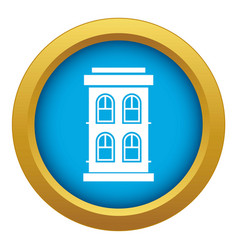 two-storey house with large windows icon blue vector image