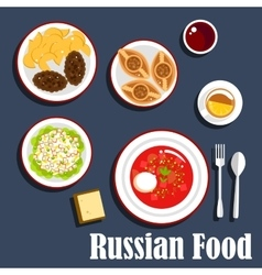 Typical dinner of russian cuisine flat icon vector