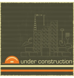 Under Construction in black and orange color vector
