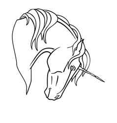 unicorn - linear for coloring vector image
