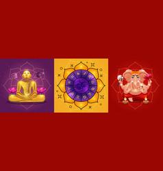 Vedic astrology posters set vector