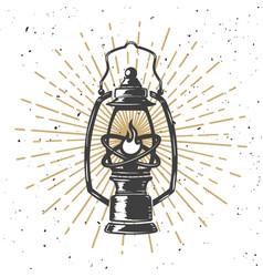Vintage kerosene lamp with light lines design vector