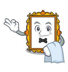 Waiter picture frame mascot cartoon vector
