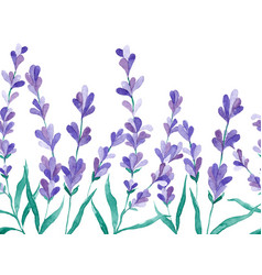 Watercolor border with lavender hand vector