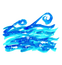 watercolor sea wave vector image