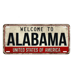 Welcome to alabama vintage rusty metal plate vector