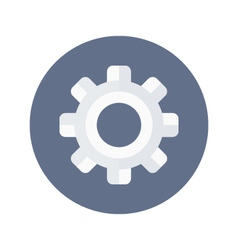 White gear wheel icon over blue vector