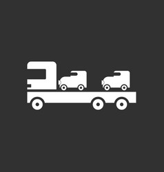 White icon on black background car carrier truck vector