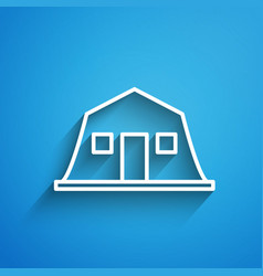 White line military barracks station icon isolated vector
