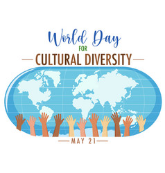 world cultural diversity day logo or banner vector image