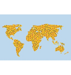 World map of autumn with leaves vector image