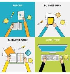 Business hands flat line vector image
