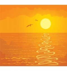 orange sunset over the ocean vector image